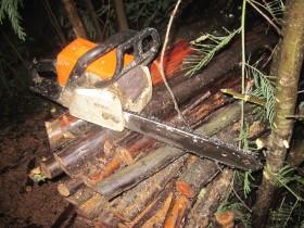 Motorsäge und angeschnittenes Feuerholz